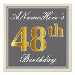 [ Thumbnail: Elegant, Gray, Faux Gold 48th Birthday + Name Invitation ]