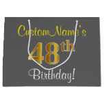 [ Thumbnail: Elegant, Gray, Faux Gold 48th Birthday + Name Gift Bag ]