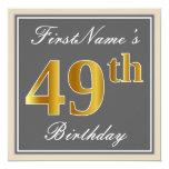 [ Thumbnail: Elegant, Gray, Faux Gold 49th Birthday + Name Invitation ]