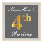 [ Thumbnail: Elegant, Gray, Faux Gold 4th Birthday; Custom Name Invitation ]