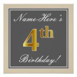 [ Thumbnail: Elegant, Gray, Faux Gold 4th Birthday; Custom Name Poster ]