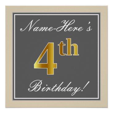 Art Themed Elegant, Gray, Faux Gold 4th Birthday; Custom Name Poster
