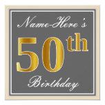 [ Thumbnail: Elegant, Gray, Faux Gold 50th Birthday + Name Invitation ]