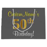 [ Thumbnail: Elegant, Gray, Faux Gold 50th Birthday + Name Gift Bag ]