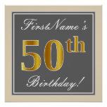 [ Thumbnail: Elegant, Gray, Faux Gold 50th Birthday + Name Poster ]