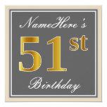 [ Thumbnail: Elegant, Gray, Faux Gold 51st Birthday + Name Invitation ]