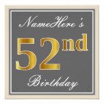 [ Thumbnail: Elegant, Gray, Faux Gold 52nd Birthday + Name Invitation ]