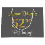 [ Thumbnail: Elegant, Gray, Faux Gold 52nd Birthday + Name Gift Bag ]