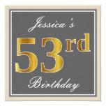 [ Thumbnail: Elegant, Gray, Faux Gold 53rd Birthday + Name Invitation ]