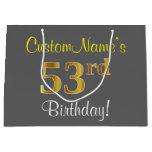 [ Thumbnail: Elegant, Gray, Faux Gold 53rd Birthday + Name Gift Bag ]