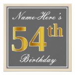 [ Thumbnail: Elegant, Gray, Faux Gold 54th Birthday + Name Invitation ]