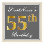 [ Thumbnail: Elegant, Gray, Faux Gold 55th Birthday + Name Invitation ]