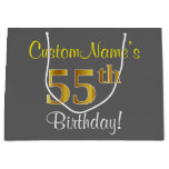 [ Thumbnail: Elegant, Gray, Faux Gold 55th Birthday + Name Gift Bag ]