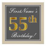 [ Thumbnail: Elegant, Gray, Faux Gold 55th Birthday + Name Poster ]