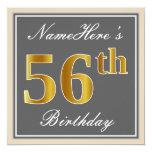 [ Thumbnail: Elegant, Gray, Faux Gold 56th Birthday + Name Invitation ]