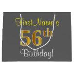 [ Thumbnail: Elegant, Gray, Faux Gold 56th Birthday + Name Gift Bag ]