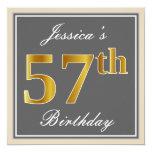 [ Thumbnail: Elegant, Gray, Faux Gold 57th Birthday + Name Invitation ]