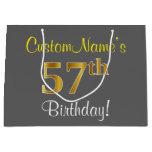 [ Thumbnail: Elegant, Gray, Faux Gold 57th Birthday + Name Gift Bag ]