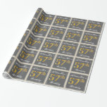 [ Thumbnail: Elegant, Gray, Faux Gold 57th Birthday + Name Wrapping Paper ]