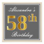 [ Thumbnail: Elegant, Gray, Faux Gold 58th Birthday + Name Invitation ]