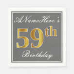 [ Thumbnail: Elegant Gray, Faux Gold 59th Birthday; Custom Name Napkin ]