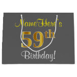 [ Thumbnail: Elegant, Gray, Faux Gold 59th Birthday + Name Gift Bag ]