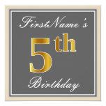 [ Thumbnail: Elegant, Gray, Faux Gold 5th Birthday; Custom Name Invitation ]