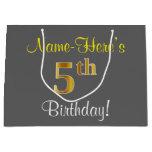 [ Thumbnail: Elegant, Gray, Faux Gold 5th Birthday; Custom Name Gift Bag ]