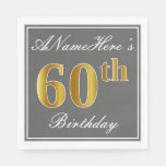 [ Thumbnail: Elegant Gray, Faux Gold 60th Birthday; Custom Name Napkin ]