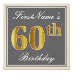[ Thumbnail: Elegant, Gray, Faux Gold 60th Birthday + Name Invitation ]
