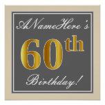 [ Thumbnail: Elegant, Gray, Faux Gold 60th Birthday + Name Poster ]