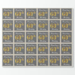 [ Thumbnail: Elegant, Gray, Faux Gold 60th Birthday + Name Wrapping Paper ]