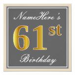 [ Thumbnail: Elegant, Gray, Faux Gold 61st Birthday + Name Invitation ]