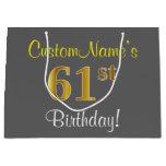 [ Thumbnail: Elegant, Gray, Faux Gold 61st Birthday + Name Gift Bag ]