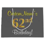 [ Thumbnail: Elegant, Gray, Faux Gold 62nd Birthday + Name Gift Bag ]