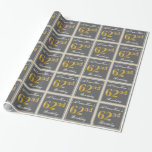 [ Thumbnail: Elegant, Gray, Faux Gold 62nd Birthday + Name Wrapping Paper ]