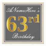 [ Thumbnail: Elegant, Gray, Faux Gold 63rd Birthday + Name Invitation ]