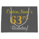 [ Thumbnail: Elegant, Gray, Faux Gold 63rd Birthday + Name Gift Bag ]