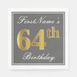 [ Thumbnail: Elegant Gray, Faux Gold 64th Birthday; Custom Name Napkin ]