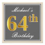[ Thumbnail: Elegant, Gray, Faux Gold 64th Birthday + Name Invitation ]