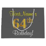 [ Thumbnail: Elegant, Gray, Faux Gold 64th Birthday + Name Gift Bag ]