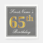 [ Thumbnail: Elegant Gray, Faux Gold 65th Birthday; Custom Name Napkin ]