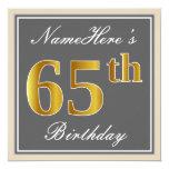 [ Thumbnail: Elegant, Gray, Faux Gold 65th Birthday + Name Invitation ]