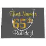 [ Thumbnail: Elegant, Gray, Faux Gold 65th Birthday + Name Gift Bag ]