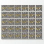 [ Thumbnail: Elegant, Gray, Faux Gold 65th Birthday + Name Wrapping Paper ]