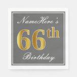 [ Thumbnail: Elegant Gray, Faux Gold 66th Birthday; Custom Name Paper Napkin ]