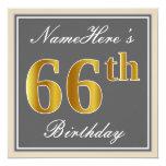 [ Thumbnail: Elegant, Gray, Faux Gold 66th Birthday + Name Invitation ]