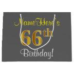 [ Thumbnail: Elegant, Gray, Faux Gold 66th Birthday + Name Gift Bag ]