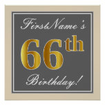 [ Thumbnail: Elegant, Gray, Faux Gold 66th Birthday + Name Poster ]