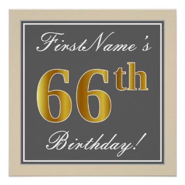 Elegant, Gray, Faux Gold 66th Birthday   Name Poster
